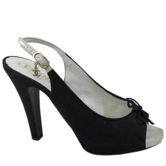 Chanel Peep Toe Slingback Pumps