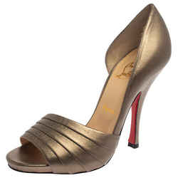 Christian Louboutin Metallic Gold Leather Armadillo Peep Toe D'orsay Pumps Size