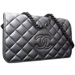 Chanel Dark Silver Quilted Leather Wallet on Chain Crossbody Flap 92ca78