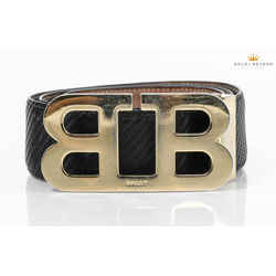 Bally Mirror B Buckle Carbon Fiber Belt  Size 33