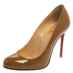 Christian Louboutin Beige Patent Leather Fifi Pumps Size 35.5
