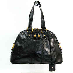 Yves Saint Laurent Muse 156465 Women's Patent Leather Handbag Black BF523379