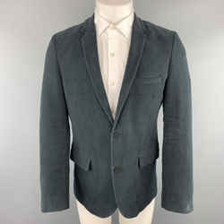 Zadig & Voltaire Size M Charcoal Cotton Velvet Notch Lapel Sport Coat