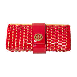Tory Burch Woven Patent Leather Clutch
