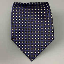 ERMENEGILDO ZEGNA Navy & Black Dots Silk Tie