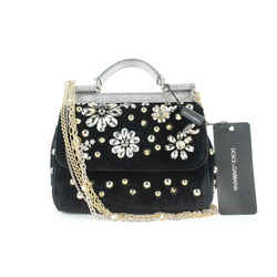 Dolce & Gabbana Black Velvet Crystal Studded Mini Sicily Chain Crossbody Bag 672dol318