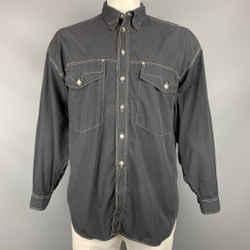 Vintage VERSACE JEANS COUTURE Size L Black Contrast Stitch Cotton Long Sleeve Shirt