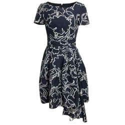 Oscar de la Renta Navy Blue Cotton & Silk Cocktail Dress