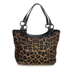 Brown Fendi Leopard Printed Jacquard Shoulder Bag