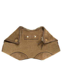 Alexander McQueen Light Brown Suede Medium Studded De Manta Clutch