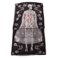 NEW $925 ALEXANDER MCQUEEN Black FULL SKELETON BRIDE Silk Wool Big SHAWL SCARF