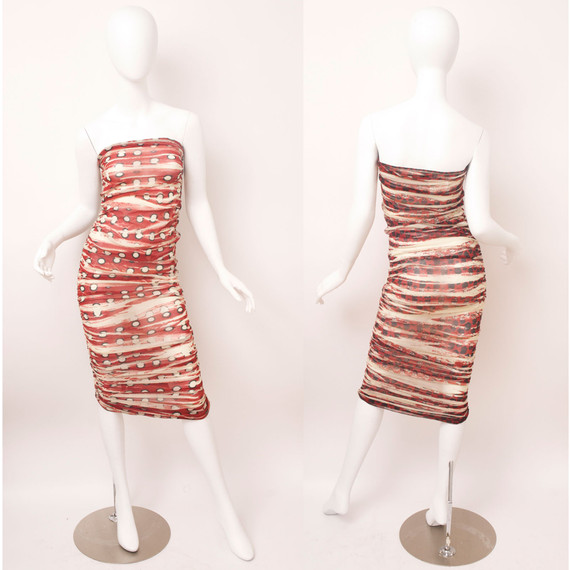 Jean Paul Gaultier Soleil Red Ruched Sheer Strapless Polka Dot Dress