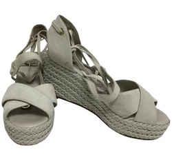 Loro Piana Chalk Suede with Braided Leather Platform Wedges Size: US 6 Regular (M, B) Item #: 25526452