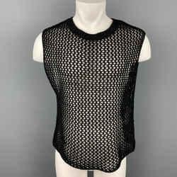 Dries Van Noten Size S Black Knitted Cotton Crew-neck Vest