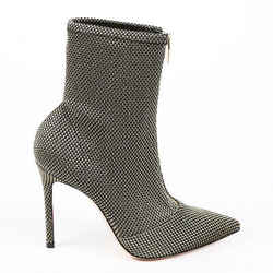 Gianvito Rossi Boots Ferrer Gold Black Woven Mesh Ankle SZ 36.5
