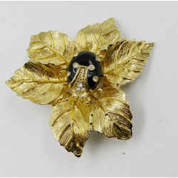 New St John Knits Pin Brooch Ladybug On Leaf 24k Gold Plated