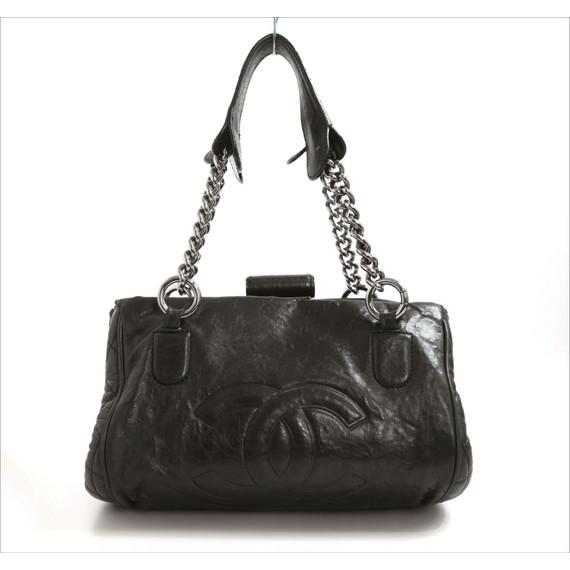 Chanel Black Calfskin Black Bowler Bag
