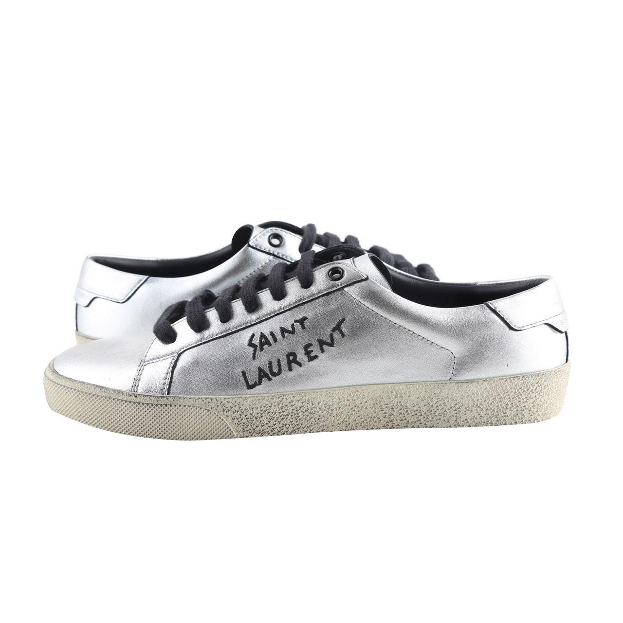 Saint Laurent Silver Metallic Leather