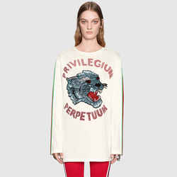 XXS NEW $1,500 GUCCI Ivory Cotton Sequin Cat Head Web Trim Oversize T-Shirt Top
