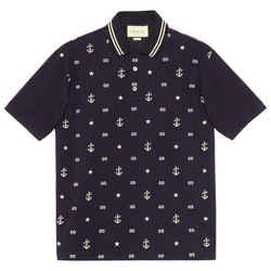 NEW Gucci Blue Medium Embroidered Logo Cotton Polo Shirt
