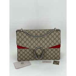 GUCCI GG Supreme Monogram Medium DIONYSUS Bag Canvas Red Suede Shoulder Bag B342