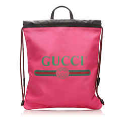 Vintage Authentic Gucci Pink Calf Leather Logo Drawstring Backpack Italy