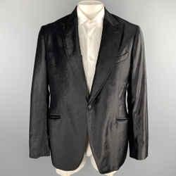 Emporio Armani Size 44 Black Velvet Peak Lapel Blazer