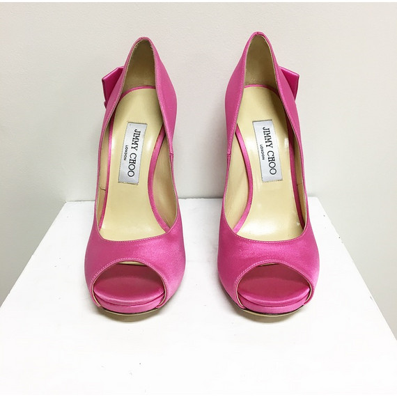 Jimmy Choo Satin Pink Pumps With Bow