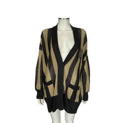 $2450 Brunello Cucinelli Gold Black Stripe Cricket Cardigan Sequin Sweater Sz Xl