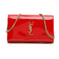 Saint Laurent Kate Monogram Chain Red Patent Leather Crossbody 377829