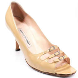Manolo Blahnik - 3 Strap Buckle Heels - Beige Patent Leather Pump  Us 9.5 - 39.5