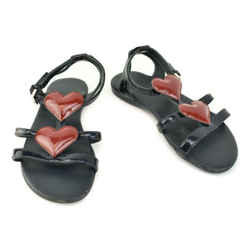 GUCCI Toddler: Navy Blue, Patent Leather & Heart Logo Flat Sandals Sz: 8M