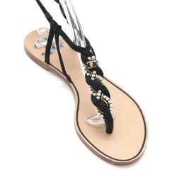 CHANEL Sandal Thong Black Suede Pearl Braided T-Strap Buckle Leather CC 37.5 C