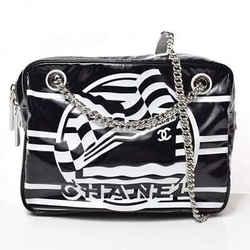 Auth Chanel La Pausa Vinyl Chain Shoulder 2019 Cruz Black X White Laser Bag