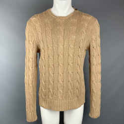 POLO by RALPH LAUREN Size M Tan Cable Knit Silk Crew-Neck Sweater