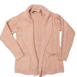 Loro Piana - Cable Cashmere Open Cardigan Sweater - Tan 2 Pocket - Us 2 - 40