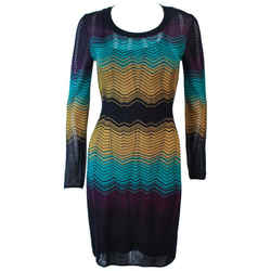 MISSONI Navy and Mustard Zig Zag Knit Dress Size 40