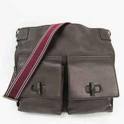 Gucci Bamboo 387095 Men's Leather,Bamboo Shoulder Bag Dark Brown BF527678