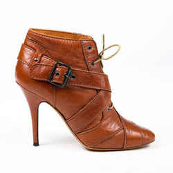 Givenchy Booties Brown Leather Lace Up Buckle Square Toe SZ 36.5