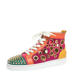 Christian Louboutin Multicolor Suede and Leather Bubble Spikes High-Top