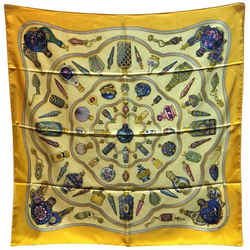 Hermes Vintage Qui' Import Le Flacons Yellow Silk Scarf