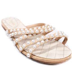 Chanel - Strappy Pearl Sandals - Leather Strap Slip On Slide - Us 8.5 - 39