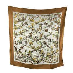 Hermes Paris Vintage Silk Scarf Bocage 1971 Anne Gavarni Brown