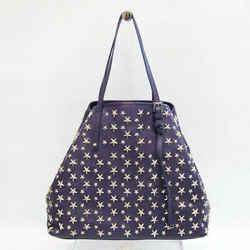 Jimmy Choo Sasha M Women's Leather Studded Tote Bag Dark Purple BF532073