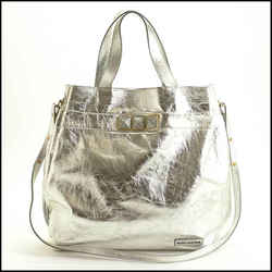 Rdc11563 Authentic Marc Jacobs Silver Crinkled Calfskin Studded Tote Bag