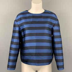 RED VALENTINO Size 4 Navy & Black Stripe Polyester / Silk Dress Top