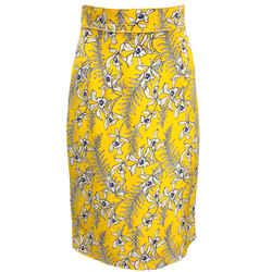 Oscar de la Renta Yellow White and Blue Silk Floral Skirt