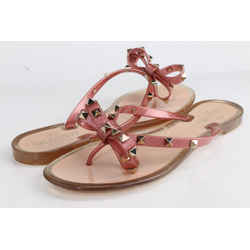 Valentino Women's Pink Rockstud Pvc Flat Thong Sandals