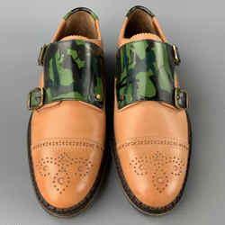 JIMMY CHOO Size 8 Tan Camouflage Leather Double Monk Strap Loafers