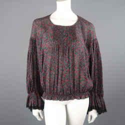 Chloe Size 2 Black Cotton / Silk Berry Print Peasant Blouse